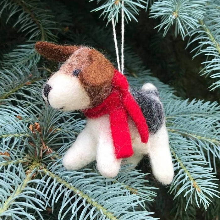 Christmas Dog  with Red Scarf Ornament
