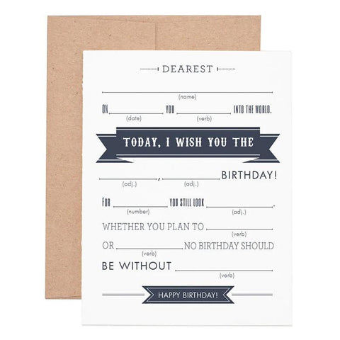 Mad Libs Birthday Greeting Card