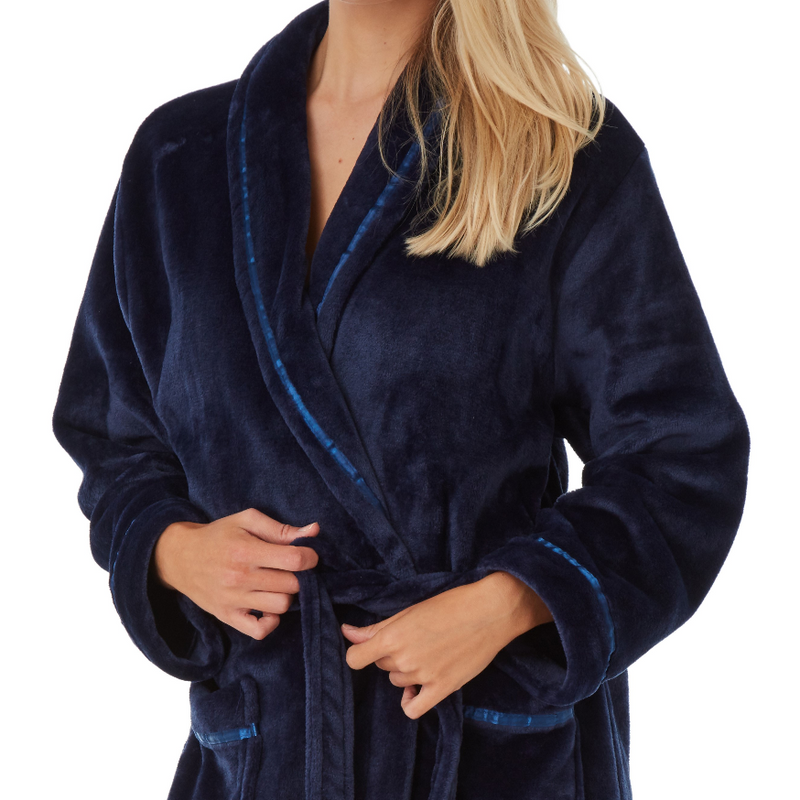 Womens Long Fleece Robe Dressing Gowns