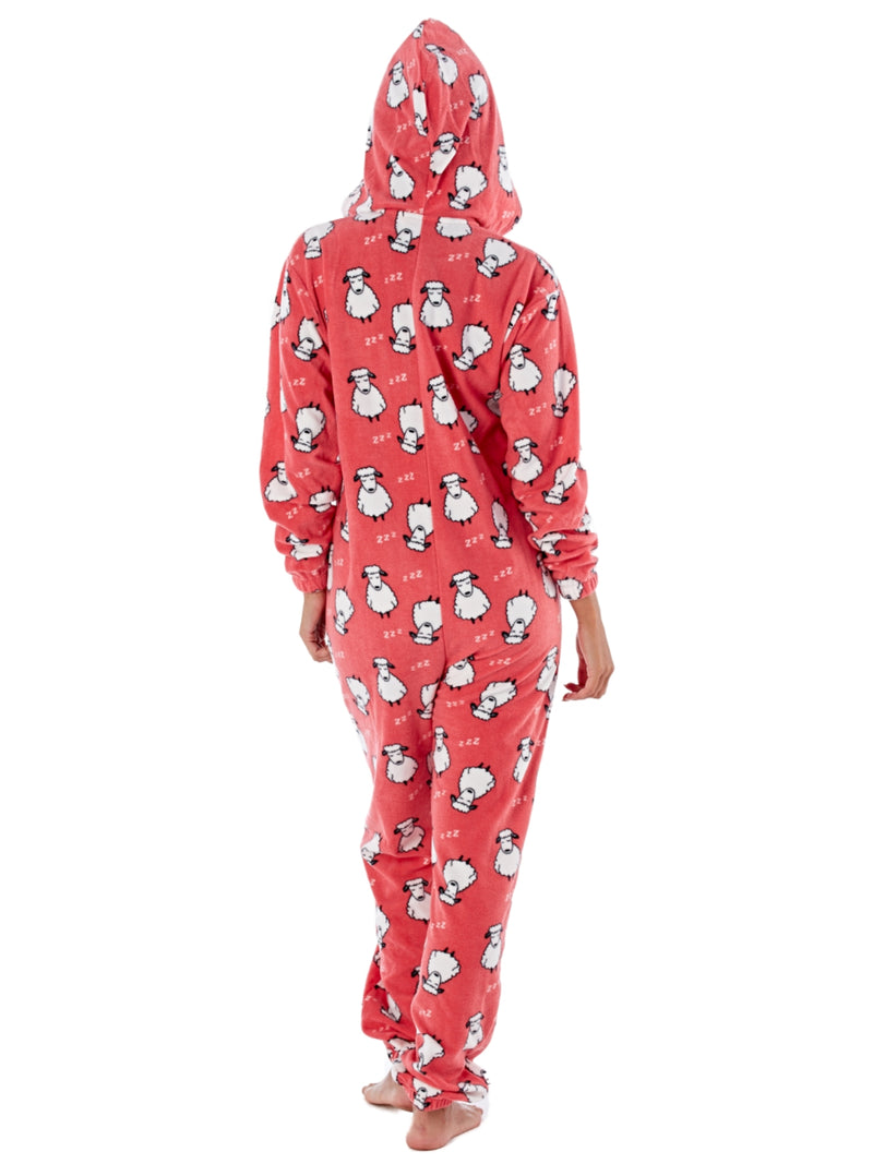 Ladies Fun Sheep Print Zip Through Warm Hooded Polar Fleece Onesies ,Onesies,