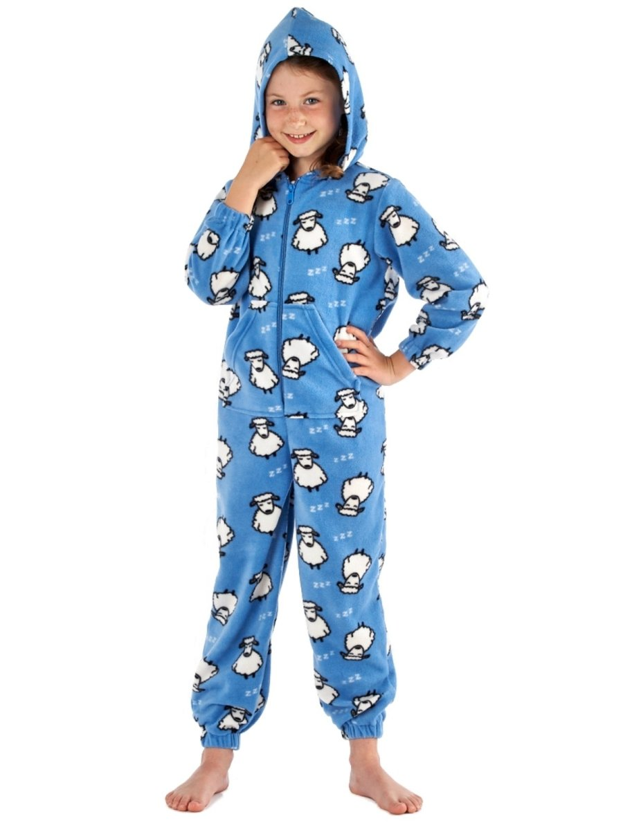 Girls Sheep Printed Zip Through, Hooded Fleece Onesies - SaneShoppe