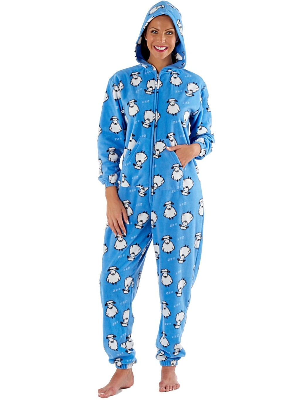 Ladies Fun Sheep Print Zip Through Warm Hooded Polar Fleece Onesies - SaneShoppe