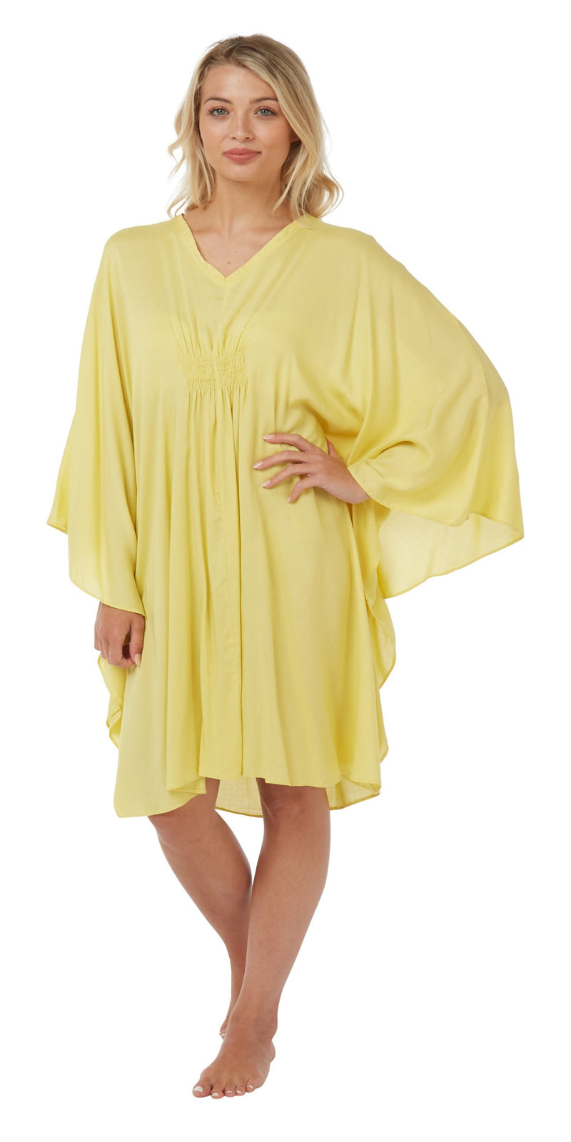 Women's Cotton Kaftan Nightwear Lounger One Size, Lemon Yellow ,Kaftan,