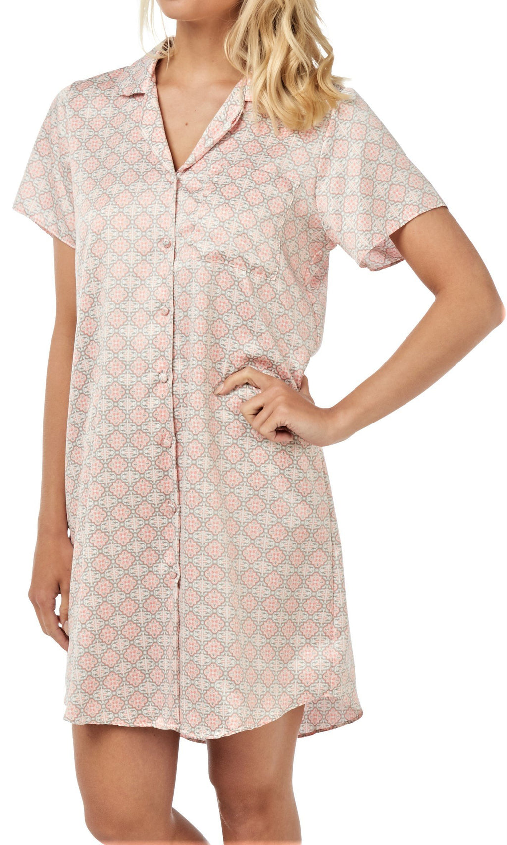 Women's Satin Nightshirt Button Down Sleepwear