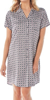 Women's Satin Nightshirt Button Down Printed Floral Navy Sleepwear ,Nightshirt,