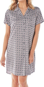 Women's Satin Nightshirt Button Down Printed Floral Navy Sleepwear - SaneShoppe