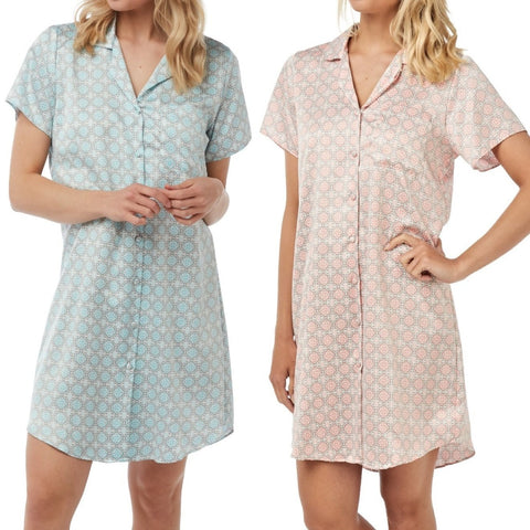 Women's Satin Nightshirt Button Down Printed Sleepwear 2Pack ,Nightshirt,