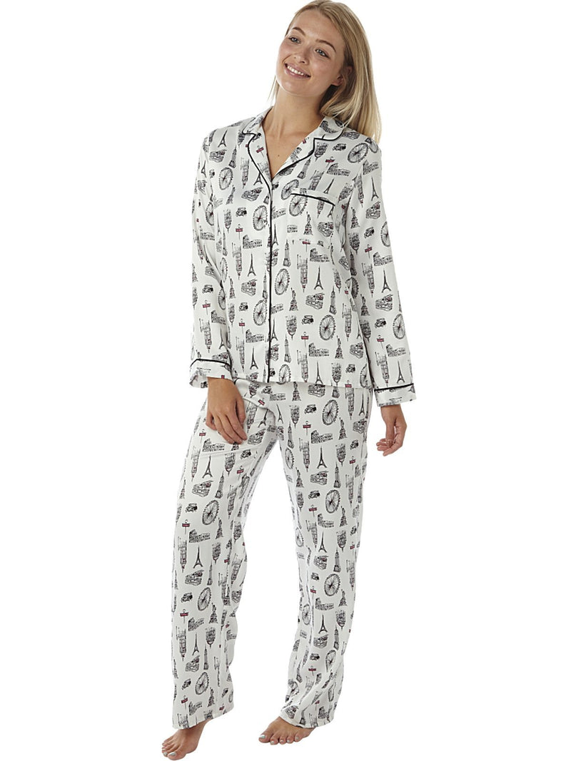 Women's Satin Pyjamas Long Sleeve Nightwear Loungewear Set City Print ,Satin Pyjamas,