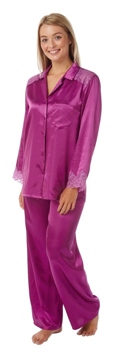 Women's Satin Pyjamas Long Sleeve Nightwear Loungewear Set Fushia ,Satin Pyjamas,