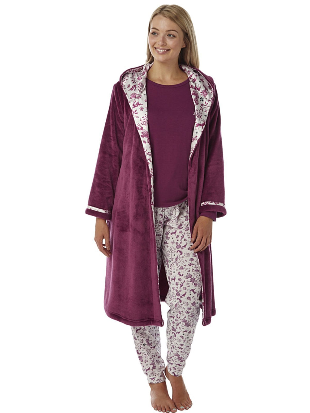 Women's Soft Fleece Hooded Robe Long Sleeve Dressing Gowns ,Hooded Robe,