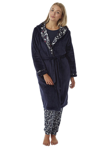 Women's Soft Fleece Robe with Hooded,  Long Sleeve Dressing Gowns ,Hooded Robe,