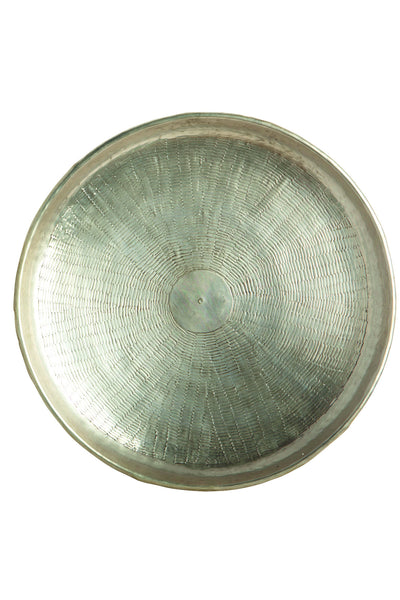 House Doctor Carve Silver Metal Tray at BLANC Home