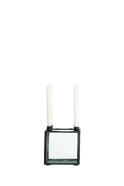 House Doctor Square Iron & Glass Candle Holder at BLANC Home