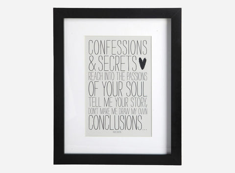 "House Doctor Framed ""Confessions & Secrets"" Print at BLANC Home"