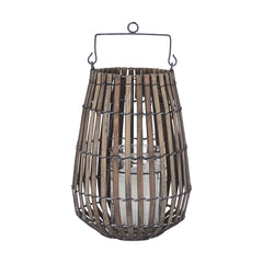 Glass & Wood Chip Bar Lantern