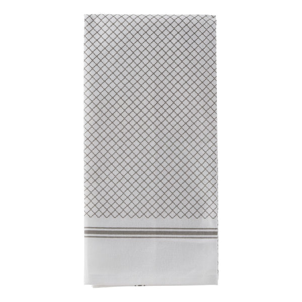 White & Grey Pattern Cotton Tea Towel