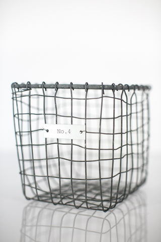 House Doctor Zinc Wire Vintage Square Storage Basket at BLANC Home