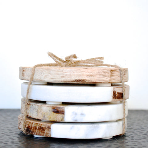 Wood And Marble Coasters, Set of 4