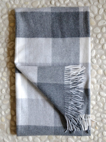 Box Plaid Cashmere Throw