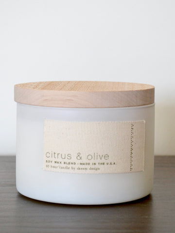 Citrus and Olive Print Block Candle
