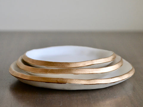 Gold Trimmed Ring Dishes