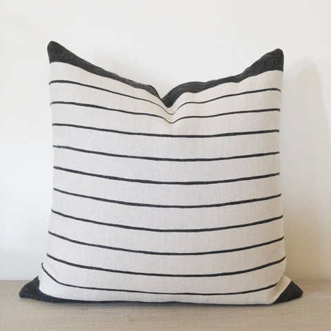 Charcoal Block Stripe Pillow