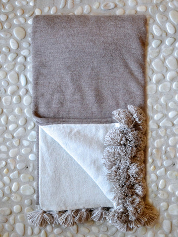 Ivory and Taupe Reversible Throw