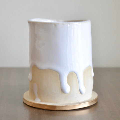 Small White Drip Glaze Vase