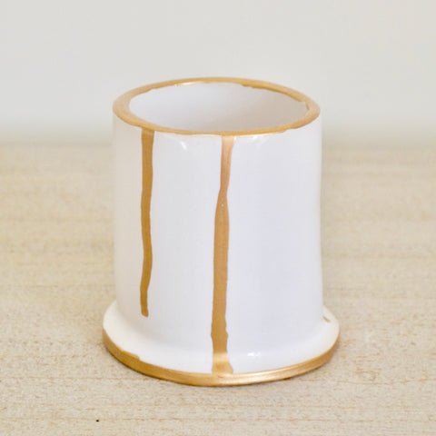 Small White Vase With Gold Drops