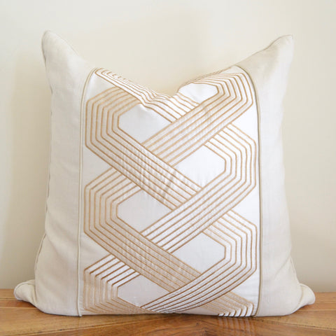 Ivory Fretwork Pillow