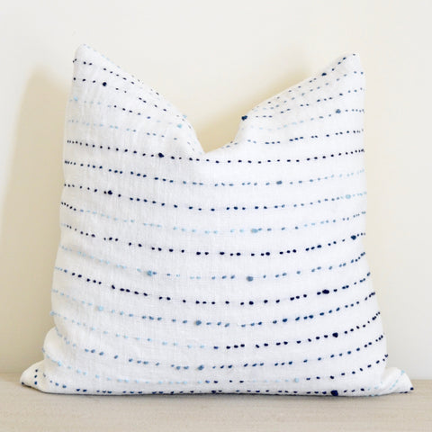 Frenchie Knot Pillow in Ivory and Blue