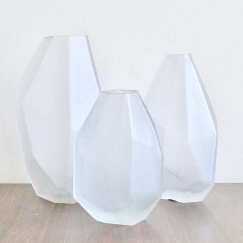 Faceted Frosted Vases