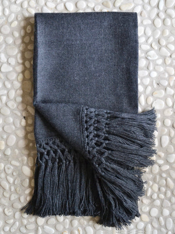 Macrame Charcoal Throw