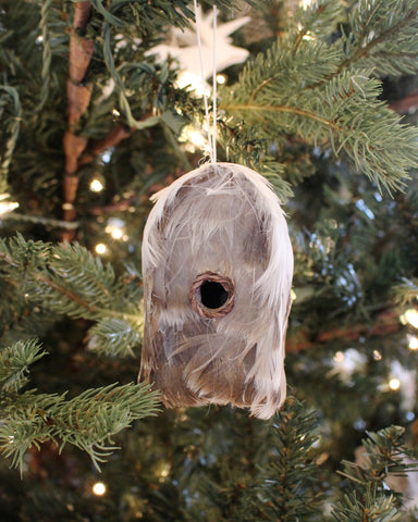 Feathered Bird House Ornament