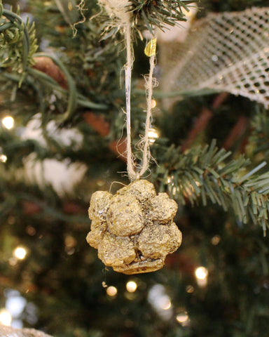 Pyrite Cluster Antiqued Gold Ornament