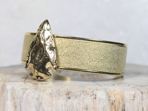 Champagne Leather Cuff with Arrow