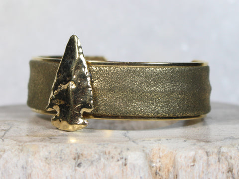 Gold Leather Cuff with Arrow