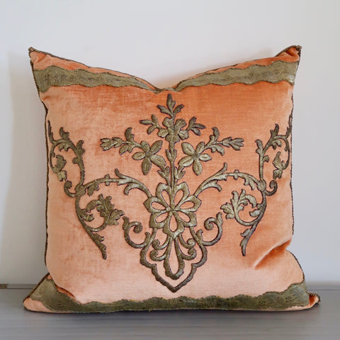 Melon Velvet Pillow with Antique Applique