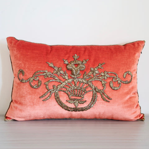 Paprika Velvet Pillow with Antique Embroidery