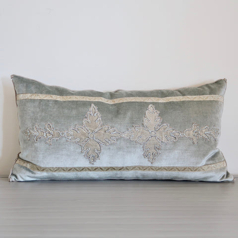 French Blue Velvet Pillow with Antique Applique