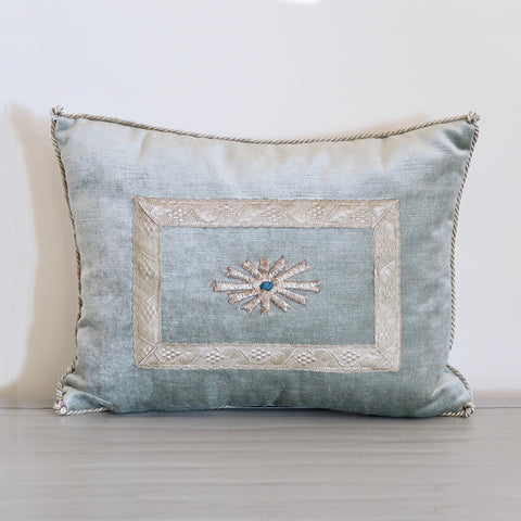 Soft Blue Velvet Pillow with Antique Applique