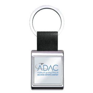 Silver Square Leather Keyring