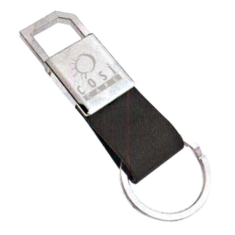 Silver Leather Keyring
