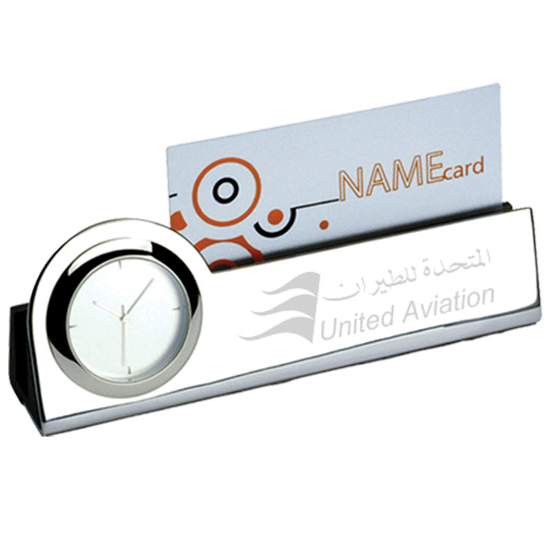 Silver Card Holder with Desk Clock