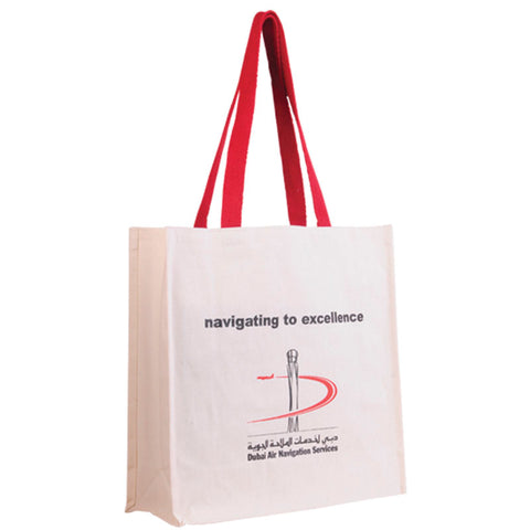Natural Color Juco Bag with Red Handle