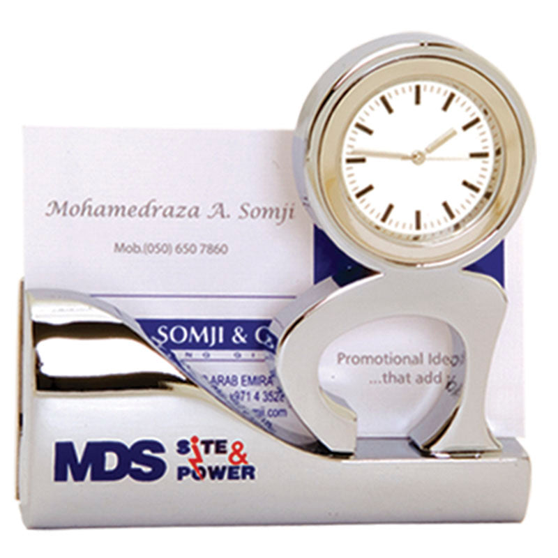 Silver Card Holder with Clock
