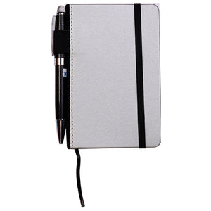 Silver A6 Notebook with Pens holder