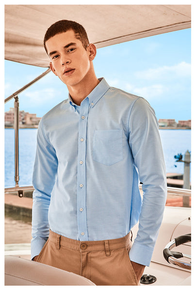 Blue Giordano Wrinkle Free Oxford Cotton Long Sleeves Office Shirt