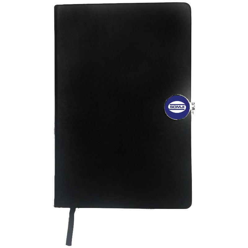 Black A5 Notebook with round magnetic clip