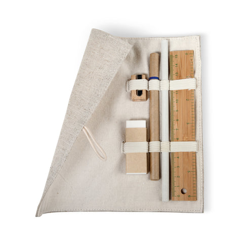 Stationary set in cotton pouch
